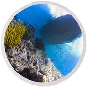 Feather Stars With A Boat Round Beach Towel