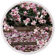 Round Beach Towel featuring the photograph Fence Of Flowers by Elizabeth Winter