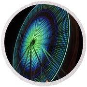 Ferris Wheel Lit Shades Of Green And Blue Round Beach Towel