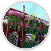 Round Beach Towel featuring the photograph Festooned In Flowers by Will Borden