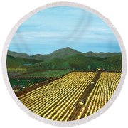 Field Of Yarrow-that's A Flower Round Beach Towel