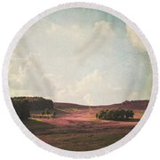 Fields Of Heather Round Beach Towel by Lyn Randle