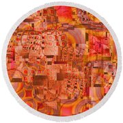 Round Beach Towel featuring the digital art Fiesta by Richard Ortolano