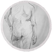Round Beach Towel featuring the drawing Figure Study by Rory Sagner