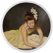 Round Beach Towel featuring the painting Final Preparations by Julie Brugh Riffey