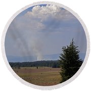 Fire In The Cascades Round Beach Towel by Mick Anderson