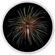 Round Beach Towel featuring the photograph Fireworks 10 by Mark Dodd