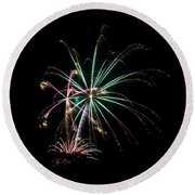 Round Beach Towel featuring the photograph Fireworks 11 by Mark Dodd