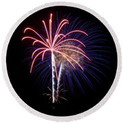 Round Beach Towel featuring the photograph Fireworks 12 by Mark Dodd