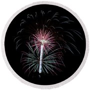 Round Beach Towel featuring the photograph Fireworks 13 by Mark Dodd