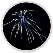 Round Beach Towel featuring the photograph Fireworks 4 by Mark Dodd