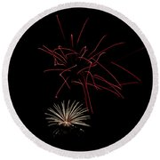Round Beach Towel featuring the photograph Fireworks 6 by Mark Dodd