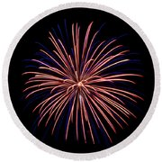 Round Beach Towel featuring the photograph Fireworks 7 by Mark Dodd