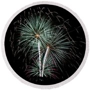 Round Beach Towel featuring the photograph Fireworks 8 by Mark Dodd
