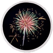 Round Beach Towel featuring the photograph Fireworks 9 by Mark Dodd