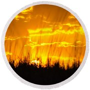 Round Beach Towel featuring the photograph Firey Sunset by Shannon Harrington