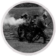 Round Beach Towel featuring the photograph Firing The Canon by Karen Harrison