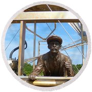 Round Beach Towel featuring the sculpture First In Flight  by Lydia Holly