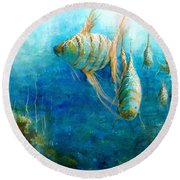 Round Beach Towel featuring the painting Fish by Andrew King