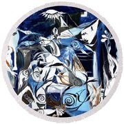 Fish Guernica Round Beach Towel