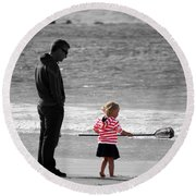 Round Beach Towel featuring the photograph Fish With Me Daddy by Terri Waters