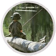 Fishin' And Wishin' Round Beach Towel