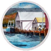 Fishing Boat And Dock Watercolor Round Beach Towel