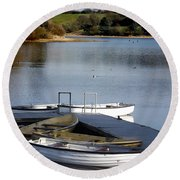 Round Beach Towel featuring the photograph Fishing Boats by Linsey Williams