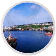 Fishing Harbour, Dunmore East, Ireland Round Beach Towel