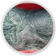 Fishing Net In A Red Box Round Beach Towel