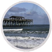Fishing On The Pier Round Beach Towel