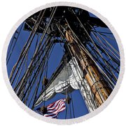 Flag In The Rigging Round Beach Towel