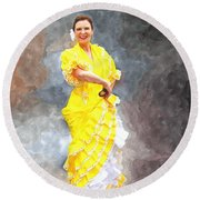 Round Beach Towel featuring the photograph Flamenco Dancer In Yellow by Davandra Cribbie