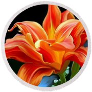 Flaming Flower Round Beach Towel by Patricia Griffin Brett