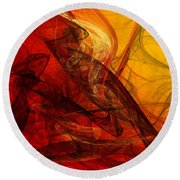 Flaming Fractals On Red And Gold Round Beach Towel