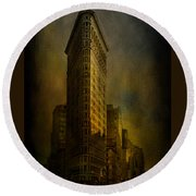 Flatiron Building...my View..revised Round Beach Towel by Jeff Burgess