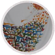 Round Beach Towel featuring the painting Fleet Of Birds by Sonali Gangane