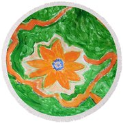 Round Beach Towel featuring the painting Floating Flower by Sonali Gangane