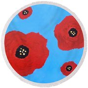 Round Beach Towel featuring the painting Floating Flowers by Alys Caviness-Gober
