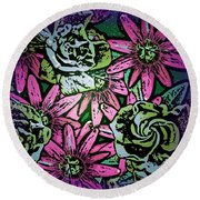Round Beach Towel featuring the digital art Floral Explosion by George Pedro