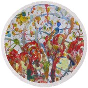 Round Beach Towel featuring the painting Floral Feel by Sonali Gangane