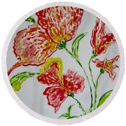 Round Beach Towel featuring the painting Florals by Sonali Gangane