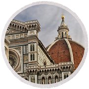 Round Beach Towel featuring the photograph Florence Duomo by Steven Sparks