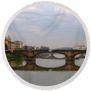 Florence Italy Bridge Round Beach Towel