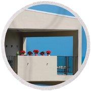 Round Beach Towel featuring the photograph Flower Pots Five by John Schneider