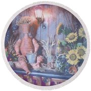Flowerpotman Round Beach Towel