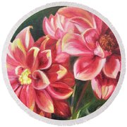 Round Beach Towel featuring the painting Flowers For Mom I by Lori Brackett