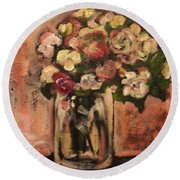 Flowers For Mom Round Beach Towel