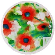 Flowers In A Glass Round Beach Towel