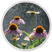 Flowers In The Rain Round Beach Towel by Randy J Heath